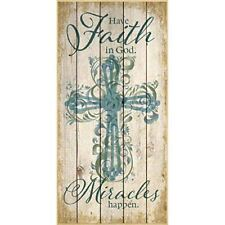NEW Dexsa Have Faith In God. Miracles Wood Plaque DX5368
