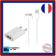 Chargeur-secteur mural+ Cable-USB Blanc- pour-iPhone 3G 3Gs 4 4S IPad 1 2 3G