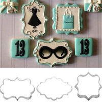 3pcs Stainless Steel European Pattern Cutter Mold For Cake Cookie Baking T Cw
