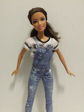 Barbie Doll Brunette 1999 Mattel in Jean Overalls and Half Shirt Brown Boots