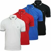 Mens Pique Polo T-Shirt by FCUK/French Connection 'F' Logo Twin Tipped