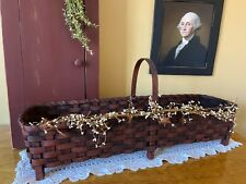 New Handcrafted Country Farmhouse Large Distressed Burgundy Porch Basket W/ Legs