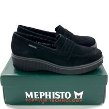 Mephisto Ermia Black Suede Penny Loafers Size 9 Womens Wedge Heel NEW