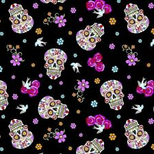 David Textiles Day of the dead Skulls Glitter 100% cotton Fabric by the yard