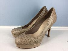 Cole Haan Nike Air brown croc embossed platform stiletto heels pumps EUC 8.5