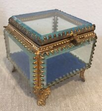 French Antique Ormolu Beveled Glass Jewelry Casket Footed Box Velvet Interior