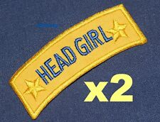 HEAD GIRL iron-on badges for fancy dress school uniform, real ex-school badges