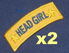 HEAD GIRL iron-on badges for fancy dress school uniform, real ex-school badges