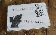 THE THINKER THE STINKER - Rustic Wood Sign White Bathroom Decor Humor Funny