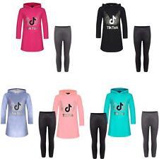 Girls Wet Look Leggings Tik Tok Hood Sweater Dress Long Sleeve Jumper Top 1-14 Y