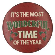WONDERFUL TIME Vintage Round Tin Plaque Pub Shop Bar Xmas Decor Signs Poster