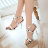 Women's High Heels Strappy Buckle Summer Office Sandals Shoes UK Plus Size 1-12
