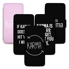 Karma Jokes Designs Flip Phone Case Cover Wallet - Fits Iphone 5 6 7 8 X 11