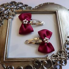 girls hair clips snap clips slides bendies  hair clip burgundy bows
