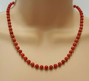 Red Coral Necklace, Vintage Style Gemstone Jewellery in Sterling Silver, 20 Inch
