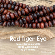Red Tiger Eye Large Hole Rondelle Gemstone Beads - 8mm x 12mm