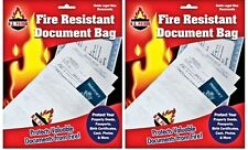 "2 Fire Resistant Document Bag Safe Storage  Jewelry Passport 10""X15"" fireproof"