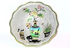Vintage Cloisonne Bowl Vase wFlower Swimming Duck, Brushes & Coins Scene center