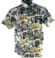CR-24 Chrome Comic Button Up Shirt Mens Size M Medium Yellow Woven Short Sleeve