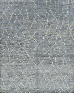 Moroccan Village Beni Ourain Rug, 8'x10', Grey, Hand-Knotted Wool Pile