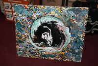 Original Abstract Art Painting Acrylic Trippy Crystal Ball Signed Marbach 2005