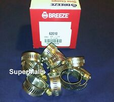 """Breeze Hose Clamps Stainless Steel Band #10 Fits 5/8"""" Id Heater Hose ( 10 Pc.S )"""