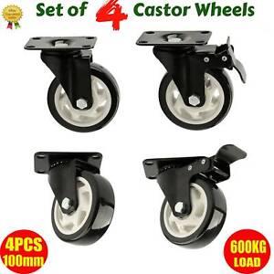 New Set of 4 Heavy Duty 100mm Rubber Swivel Castor Wheels Caster Brake 600KG