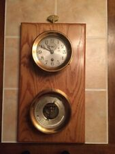 """REDUCED PRICE BY $50~~ 1940's CHELSEA BRASS SHIP'S CLOCK & BAROMETER 4.5 """" Ea"""