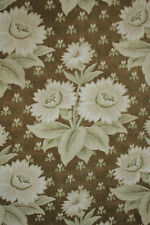 Antique French fabric Belle Epoque c1880 khaki sage green printed cotton