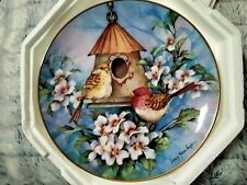 """Royal Doulton Scarlet Finch Flat by Carolyn Shores Wright Franklin Mint 8"""" Plate"""