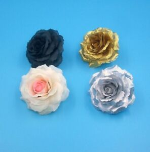 18 Colors,Silk Flower Rose Hair Clip Pins,Girls,Women Wedding,Gold,Silver,4 Pcs