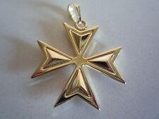nuova placcato oro giallo malta croce maltese semi incisa taglia 4 semplice