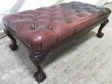 Good sized Edwardian Mahogany and button leather upholstered footstool (ref 218)