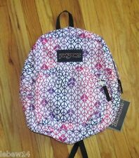Jansport Super Break Whte Purple Pink Peace Signs Backpack NWT