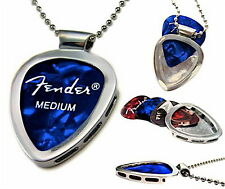 PICKBAY Guitar PICK Holder Necklace Set Holds Concert Picks (Engravable Back)