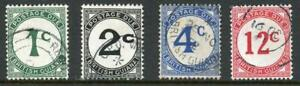 British Guiana SGD1a/D4a set of 4 Chalky paper Fine used Cat 85 pounds