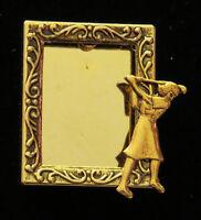 Golfer Female Photo Frame Pin Brooch Golf 24 Karat Gold Plate Golfing