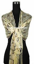Elegant Handmade Lace PAISLEY Art Scarf Wrap w/ Sequin & Crochet Fringe, Ivory