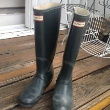 Hunter Forest Green Wellies Boots W 7 UK 5 Tall Gloss Rain Rubber Galoshes Shoes