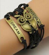 NEW Love Anchor Leather Cute Charm Bracelet plated Bronze owl DIY SL134