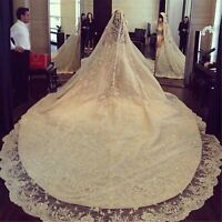 White Ivory 5M 1T Wedding Veils Cathedral with Rhinestones Crystal Appliques