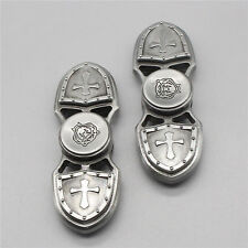 Bi-Cross Shield Silver Colored Metal Alloy Fidget Spinner -Trusted USA Seller