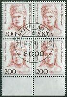 Bund Nr. 1498 UR Viererblock Frauen VB gestempelt EST Vollstempel Frankfurt BRD