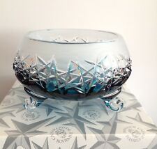 Bohemia Crystal Hand Made Frosted Bowl 'Mars', Exclusive Azure Colour, BNIB