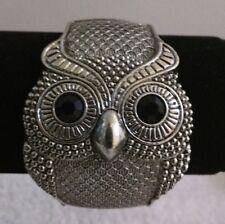 "Retro Cuff Bracelet Owl Silver Toned Black Eyes Hinged 1.25"" Width Wrists 6-8"""