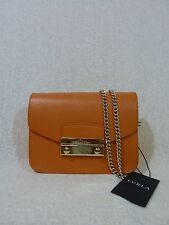 NWT FURLA New Tangerine Saffiano Leather Mini Julia Chain Cross body Bag $328