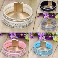Fashion Leather Wrap Wristband Cuff Punk Crystal Magnetic Bracelet Bangle ONE