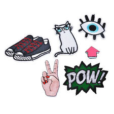 7pc Clothes patch Apparel Sewing Fabric Eye Cat Shoe Arrow  Logo Cartoon Iron On