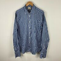 Ted Baker Mens Button Up Shirt 17.5/XL Blue Grey Striped Long Sleeve Collared