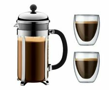 BODUM Chambord French Press Coffee Maker Plunger 1l 2 Double Wall Glasses0.35l